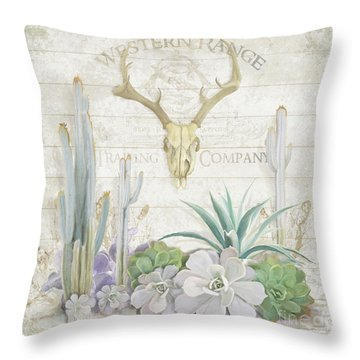 Throw Pillow featuring the painting Old West Cactus Garden W Deer Skull N Succulents Over Wood by Audrey Jeanne Roberts