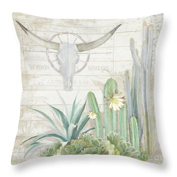 Throw Pillow featuring the painting Old West Cactus Garden W Longhorn Cow Skull N Succulents Over Wood by Audrey Jeanne Roberts