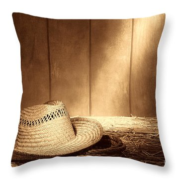 Old West Farmer Hat Throw Pillow