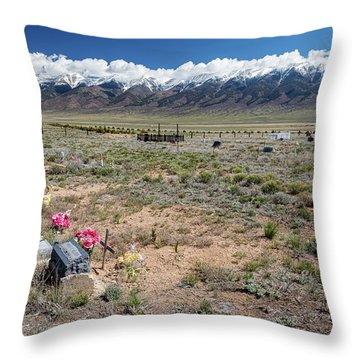 Old West Rocky Mountain Cemetery View Throw Pillow by James BO Insogna