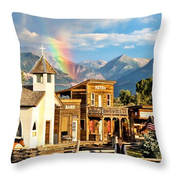 Old West Town Throw Pillow