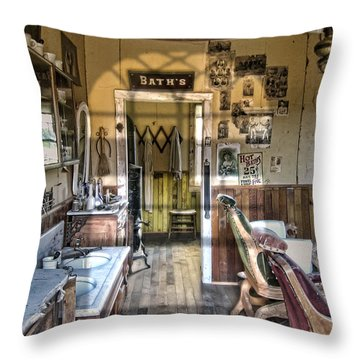 Old West Victorian Barber Shop Interior - Montana Territory Throw Pillow by Daniel Hagerman