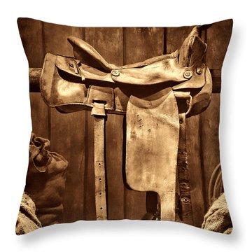 Old Western Saddle Throw Pillow