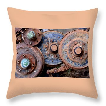 Old Wheels, Circles And Bolts Throw Pillow