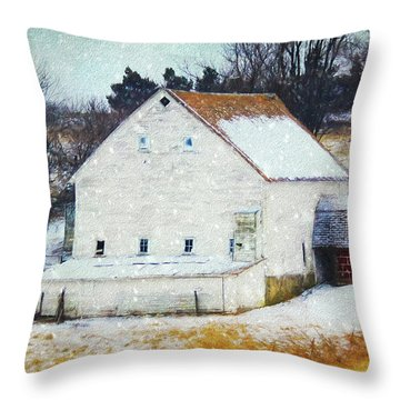 Old White Barn In Snow Throw Pillow
