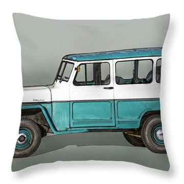 Old Willys Jeep Wagon Throw Pillow