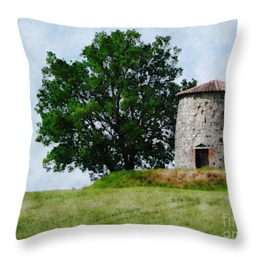 Throw Pillow featuring the photograph Old Windmill by Jean Bernard Roussilhe