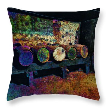 Throw Pillow featuring the digital art Old Wine Barrels by Glenn McCarthy Art and Photography