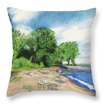 Throw Pillow featuring the drawing Old Woman Creek - Huron Ohio by Shawna Rowe