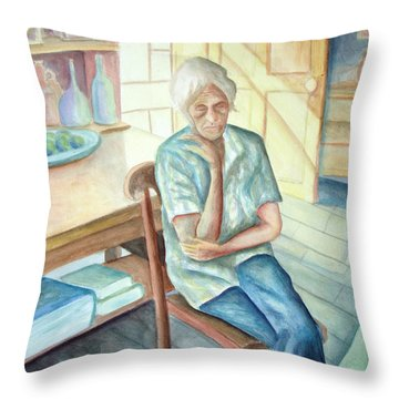 Old Woman Throw Pillow by Nancy Mueller