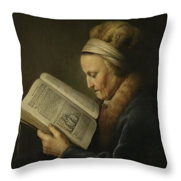 Old Woman Reading Throw Pillow by Gerard Dou