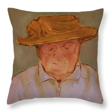 Old Woman With Yellow Hat Throw Pillow