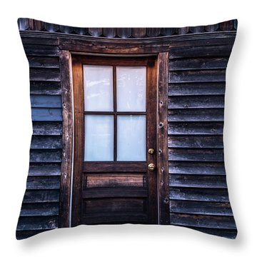 Old Wood Door And Light Throw Pillow by Terry DeLuco