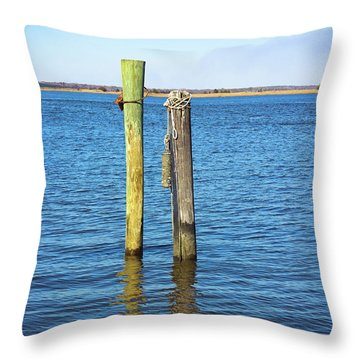 Throw Pillow featuring the photograph Old Wood Pilings In Blue Water by Colleen Kammerer