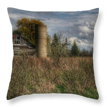 0034 - Old Wooden Barn And Silo Throw Pillow