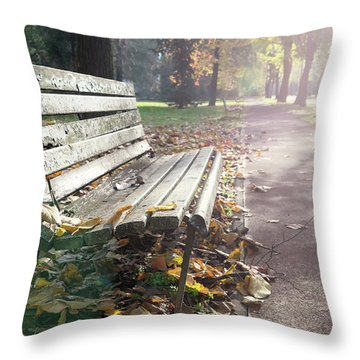 Rustic Wooden Bench During Late Autumn Season On Bright Day Throw Pillow