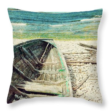 Old Wooden Boat On The Seashore, Retro Image Throw Pillow