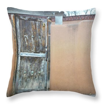 Throw Pillow featuring the photograph Old Wooden Door Adobe by Andrea Hazel Ihlefeld