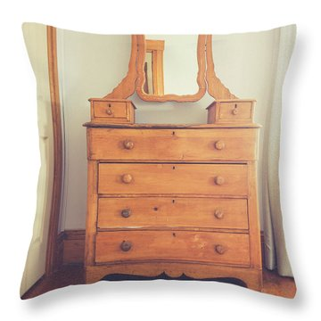 Old Wooden Dresser Throw Pillow
