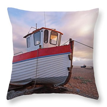 Old Wooden Fishing Boat Home By Sunset Throw Pillow