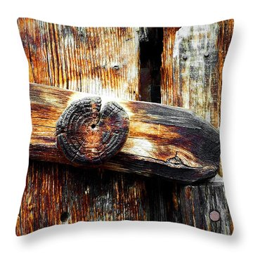 Old Wooden Latch Throw Pillow