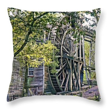 Throw Pillow featuring the photograph Old Wooden Mill by Kim Wilson