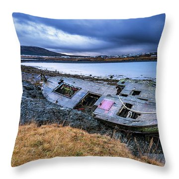 Old Wooden Ship On Beach Throw Pillow