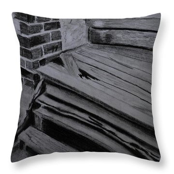 Old Wooden Steps In Milang Throw Pillow
