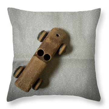 Throw Pillow featuring the photograph Old Wooden Toy Car Still Life by Edward Fielding