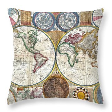 Old World Map Print From 1794 Throw Pillow