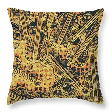 Old-world Musical Composition Throw Pillow