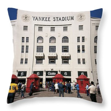 Old Yankee Stadium Last Game Throw Pillow by Paul Plaine