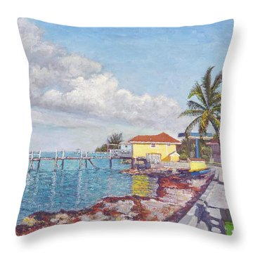 Old Yellow Gas Station By The Waterfront - Cooper's Town Throw Pillow