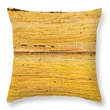 Throw Pillow featuring the photograph Old Yellow Paint On Wood by John Williams