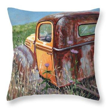 Old Yellow Throw Pillow
