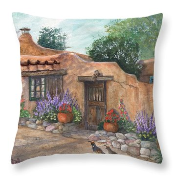Throw Pillow featuring the painting Old Adobe Cottage by Marilyn Smith
