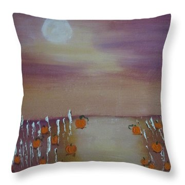 Olde Tyme Pumpkin Patch And Maze Throw Pillow by Sharyn Winters
