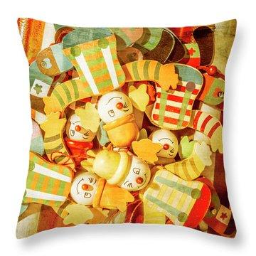 Olden Day Clown Show Throw Pillow