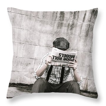 Olden Day Man Reading Newspaper Tabloid Throw Pillow