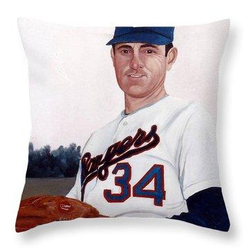 Older Nolan Ryan With The Texas Rangers Throw Pillow