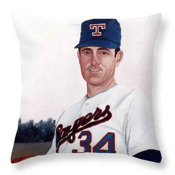 Throw Pillow featuring the painting Older Nolan Ryan With The Texas Rangers by Rosario Piazza