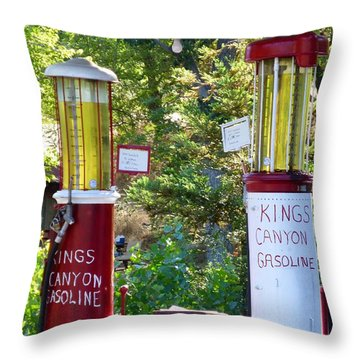 Oldest Dbl. Gravity Gas Pumps 1928 Throw Pillow by Amelia Racca