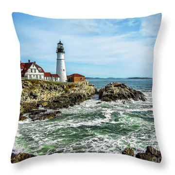 Oldest Lighthouse In Maine Throw Pillow