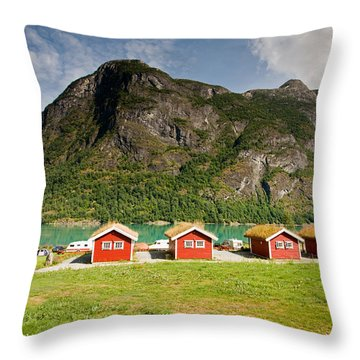 Oldevatnet Lake In Jostedalsbreen National Park Throw Pillow by Aivar Mikko