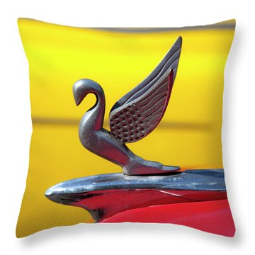 Throw Pillow featuring the photograph Oldsmobile Packard Hood Ornament Havana Cuba by Charles Harden
