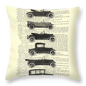 Collection Oldtimers In Black And White Vintage Illustration Throw Pillow