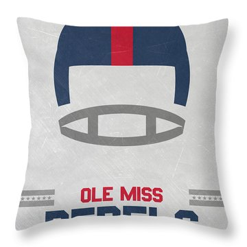 Ole Miss Rebels Vintage Football Art Throw Pillow by Joe Hamilton