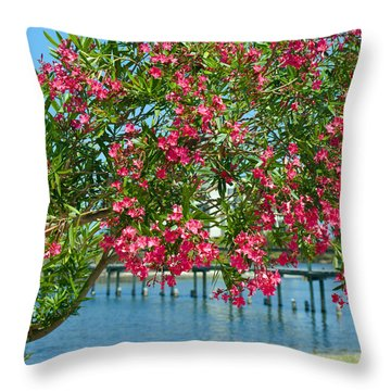 Oleander On Melbourne Harbor In Florida Throw Pillow by Allan  Hughes
