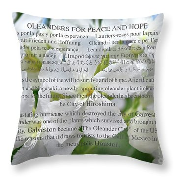 Oleanders For Peace And Hope Throw Pillow