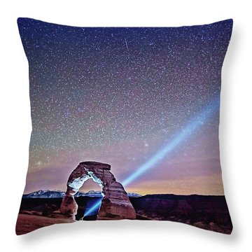 Throw Pillow featuring the digital art Olena Art Starry Night Pointer At Delicate Arch Moab National Park by OLena Art Brand
